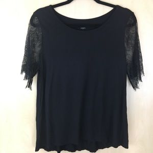 Loft Outlet Black Stretch Top W/ Lace Sleeves